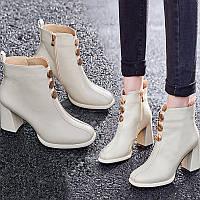 Водонепроникні черевики Martin на високому каблуці на платформі; універсальні жіночі модні короткі чоботи; білі чоботи на товстому каблуці;, фото 1