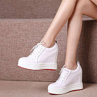 Весенняя женская обувь Meng Qi с высокой посадкой 12 см из кожи, белые туфли на толстой подошве, повседневные туфли на платформе на очень высоком