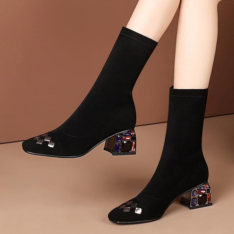 Новые толстые и тонкие ботинки, весна и осень 2020 г., короткие красные короткие сапоги, женские носки с квадратным носком, ботинки, кожаные ботинки