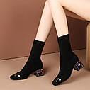 Новые толстые и тонкие ботинки, весна и осень 2020 г., короткие красные короткие сапоги, женские носки с квадратным носком, ботинки, кожаные ботинки, фото 3