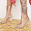 Новые летние босоножки на высоком каблуке с кристаллами и рыбьим ртом на толстом каблуке прозрачные босоножки из пвх женские туфли на шнуровке ботинки