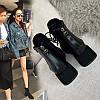 Короткі чоботи з квадратним носком, жіночі зимові жіночі чоботи на товстому каблуці, новинка 2020, одинарні черевики, осіння взуття, черевики Martin,