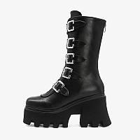 Новинка 2020 года, осенние непромокаемые ботинки на толстом каблуке и пряжке на платформе, средние ботинки с круглым носком, мотоциклетные ботинки,, фото 1