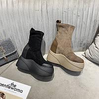 Осінньо-зимові нові європейські станції 2020, короткі черевики на платформі, з внутрішнім підвищенням еластичності, черевики Martin, фото 1