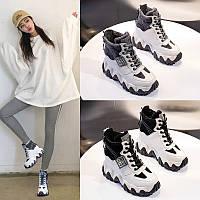Жіноче взуття з внутрішнім збільшенням, новинка весни 2020, короткі короткі чоботи на товстій підошві, старі черевики шкіряні Martin, спортивна, фото 1