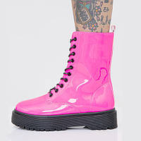 Youmaidi новий водонепроникний бісквіт на платформі з повсякденними короткими чобітьми з лакованої шкіри рожевого королівського синього кольору, фото 1