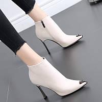 Женские ботинки Martin, осень и зима 2020, новые короткие ботинки со стразами в британском стиле, женские тонкие сапоги на высоком каблуке с острым, фото 1