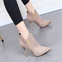 Красные короткие сапоги в британском стиле, женские ботинки Martin, новые ботинки телесного цвета с острым носком на шпильке с крокодиловым узором,, фото 1