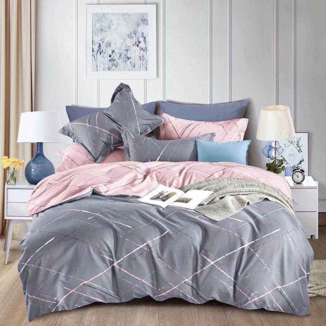 Однотонное серое постельное белье одноцветный постельный комплект в сдержанном стиле (семейное)