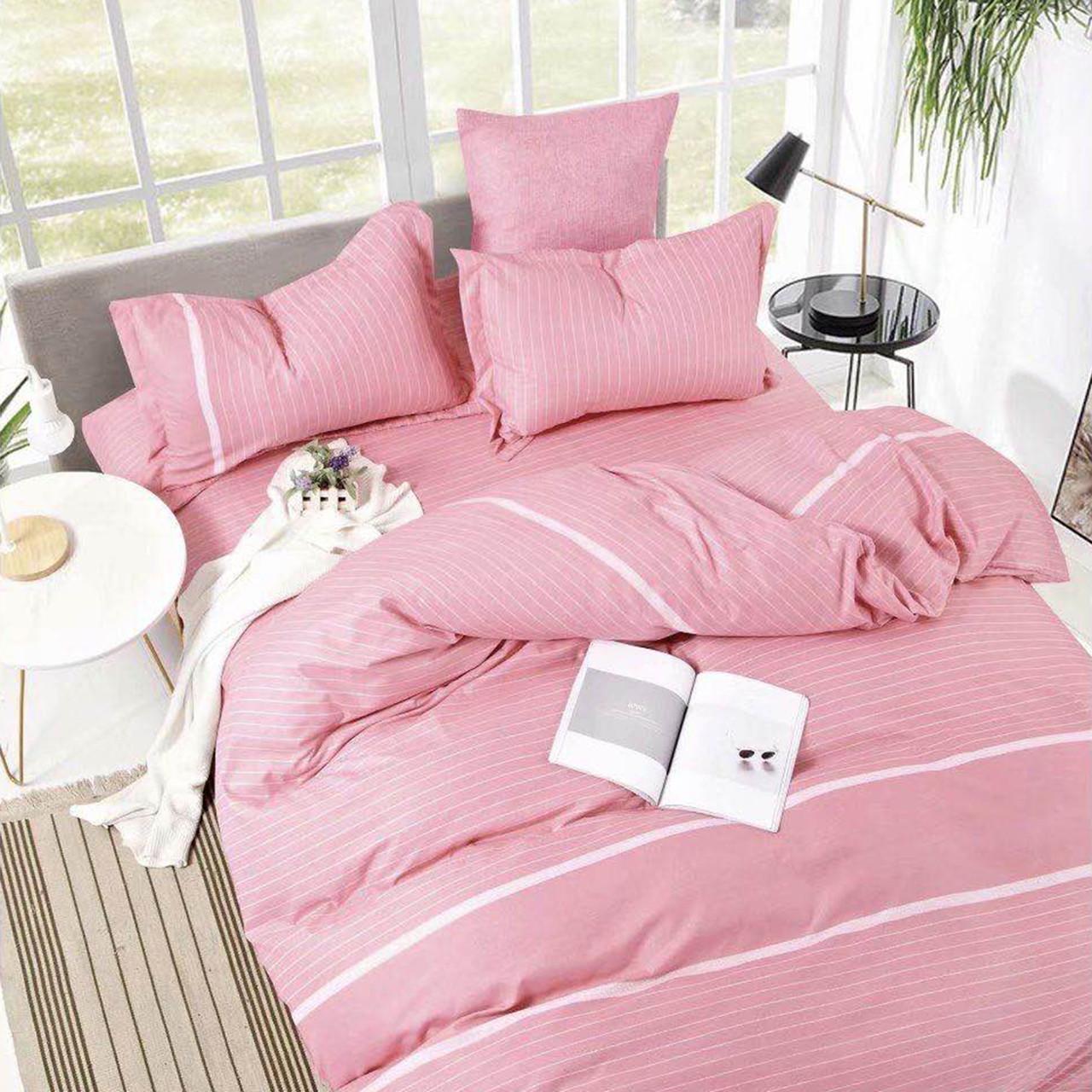 Полосатое розовое постельное белье розовый комплект постельного белья Полоска (семейный)