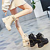 Короткие сапоги женские весенние и осенние модели 2020 зима новые осенние туфли на толстой подошве на высоком каблуке полусапоги увеличенные ботинки