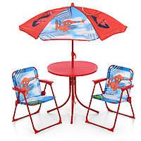 Детский садовый столик со стульчиками и зонтиком Bambi Spider Man 93-74-SP | Пляжный дитячий стіл і стілець