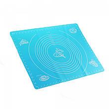 Коврик-подложка для раскатывания теста 40*50 см, голубой