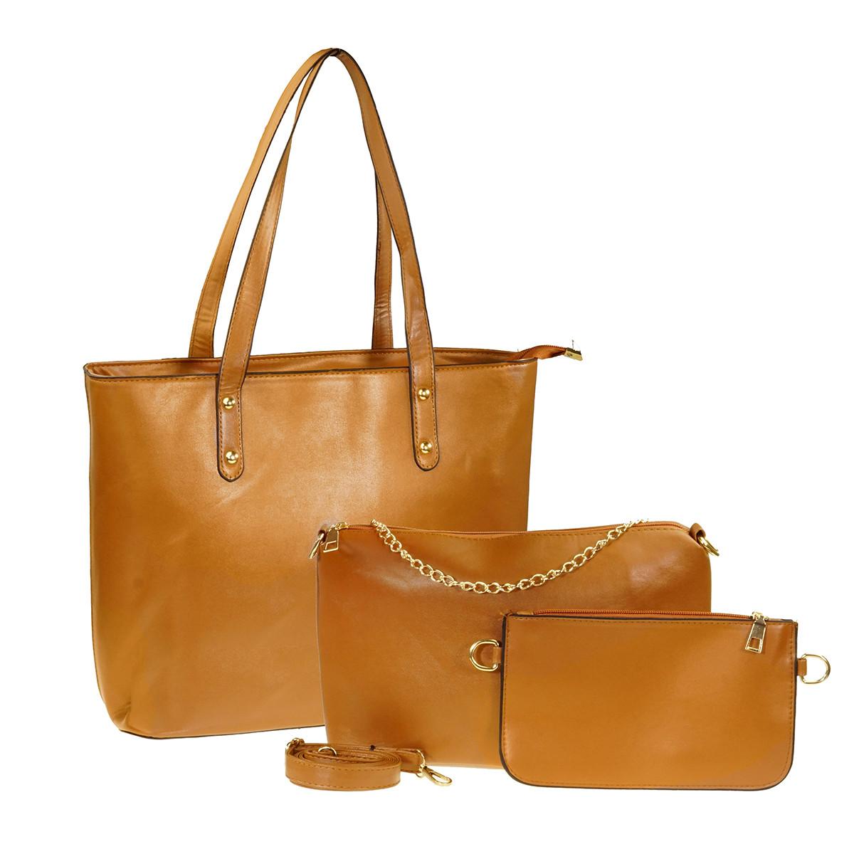 Набор женских сумок 3 шт., Коричневый