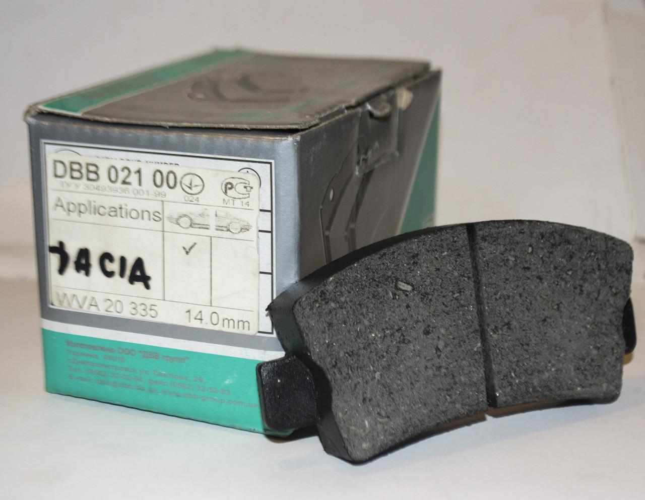 DBB 021.00 Тормозные колодки RENAULT 7701201321, Dacia Solenza 6001549060, FIAT 425099