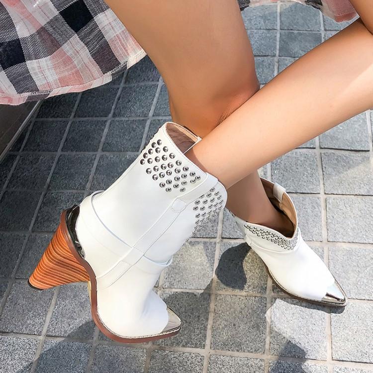 Осенне-зимние новые стильные белые короткие сапоги с коническим каблуком и заклепками, кожаные ботинки с острым носком, короткие сапоги, внешняя