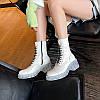 Весна и осень 2020 г. новые ботинки Martin на толстом каблуке кожаные короткие сапоги женские белые мотоциклетные сапоги женские ботинки на прозрачном