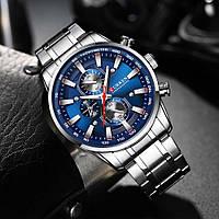 Часы CURREN 8351 Chronograph Silver Dark Blue 47mm (Quartz).
