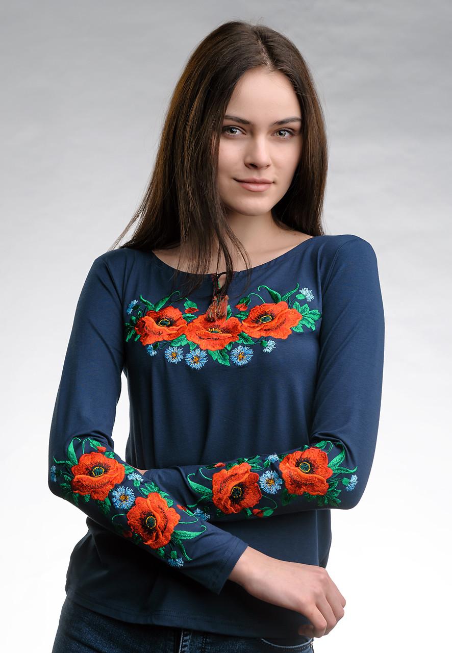 Женская вышитая футболка темно-синего цвета с длинным рукавом «Маковое поле»