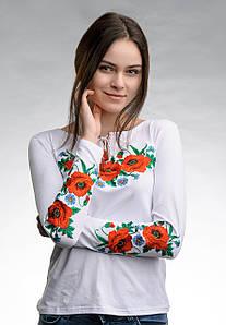 Белая женская вышитая футболка с длинным рукавом в украинском стиле «Маковое поле»