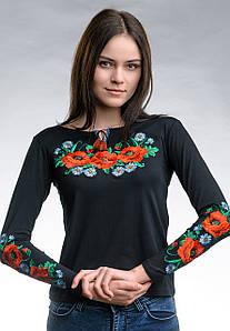 Черная женская вышитая футболка с длинным рукавом в этно стиле «Маковое поле»