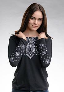 Трендовая черная женская вышитая футболка с длинным рукавом «Серый карпатский орнамент»