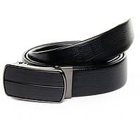 """Кожаный мужской ремень для брюк с пряжкой """"Автомат"""" 125см D36-7049 black"""
