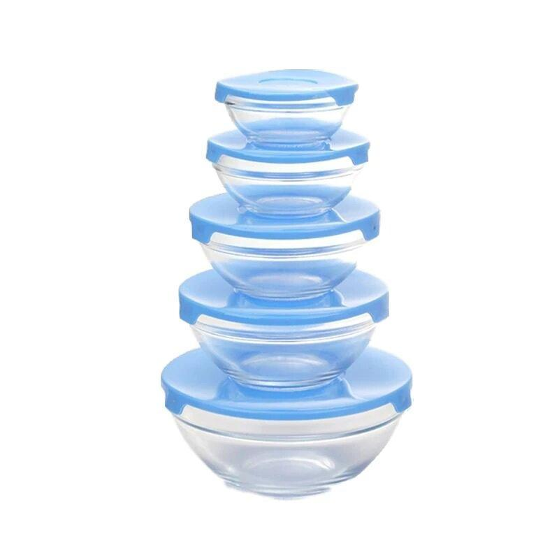 Стеклянные пищевые контейнеры с крышками, 5 шт., цвет голубой