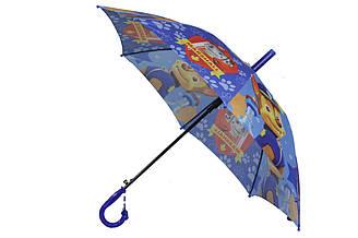 Детский зонт трость полуавтомат на 8 спиц со свистком с рисунком мультгероев Щенячий патруль