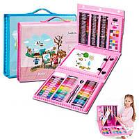 Детский художественный набор 208 предметов для рисования и творчества (в чемодане) / Чемоданчик с мольбертом