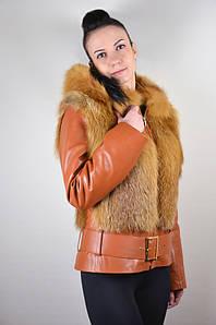 Кожаная зимняя куртка с мехом лисы, черно-рыжая рыжий