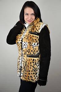 Куртка с мехом с принтом леопарда на утеплителе, распродажа