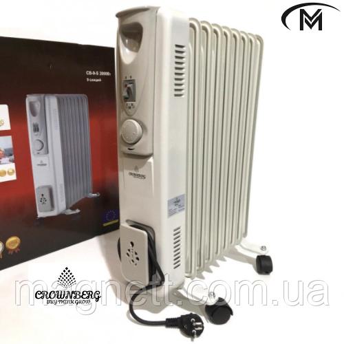 Обогреватель масляный радиатор Сrownberg CB-9-S Серый 2000W