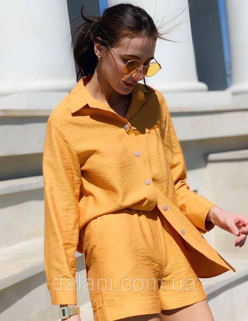Женский горчичный летний костюм с шортами