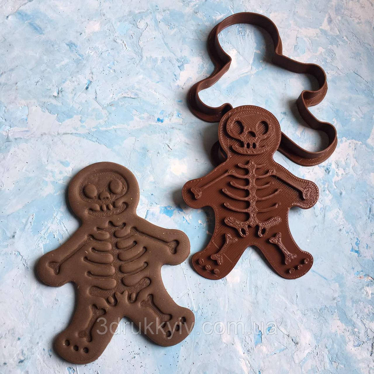 "Вирубка для пряників зі штампом  ""Скелет #1"" / Вырубка - формочка для пряников со штампом ""Скелет #1"""