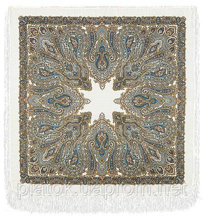 Ольга Лабзина 1008-1, павлопосадский платок шерстяной с шелковой бахромой