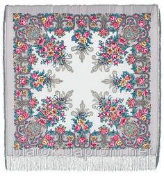 Рококо 1316-1, павлопосадский платок шерстяной с шелковой бахромой