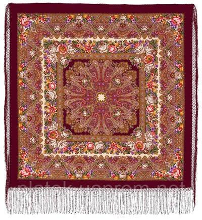 Остановись, мгновенье... 1401-7, павлопосадсая шаль из уплотненной шерсти с шелковой вязаной бахромой