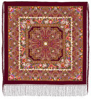 Остановись, мгновенье... 1401-7, павлопосадсая шаль из уплотненной шерсти с шелковой вязаной бахромой, фото 1