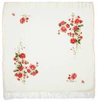 Розы на снегу 1227-1, павлопосадский платок шерстяной  с шелковой бахромой