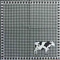 """Салфетка декупажная 33x33см 21 """"Корова на клетчатом фоне"""""""