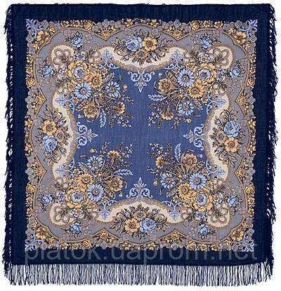 Ностальгия 573-14, павлопосадский платок шерстяной с шерстяной бахромой