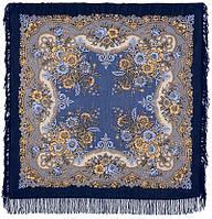 Ностальгия 573-14, павлопосадский платок шерстяной с шерстяной бахромой, фото 1
