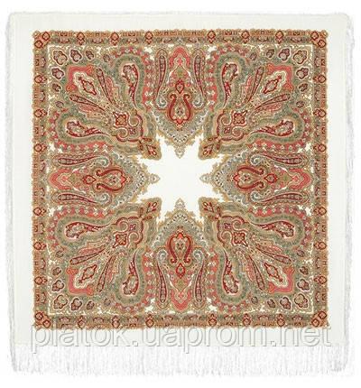 Ольга Лабзина 1008-3, павлопосадский платок шерстяной с шелковой бахромой