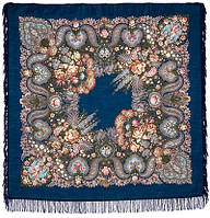 Над серебряной водой 734-15, павлопосадский платок шерстяной  с шерстяной бахромой