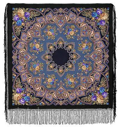 Майя 372-27, павлопосадский платок (шаль) из уплотненной шерсти с шелковой вязанной бахромой