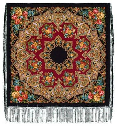 Майя 372-28, павлопосадский платок (шаль) из уплотненной шерсти с шелковой вязанной бахромой