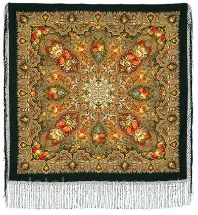 Миндаль 1369-10, павлопосадский платок (шаль) из уплотненной шерсти с шелковой вязанной бахромой