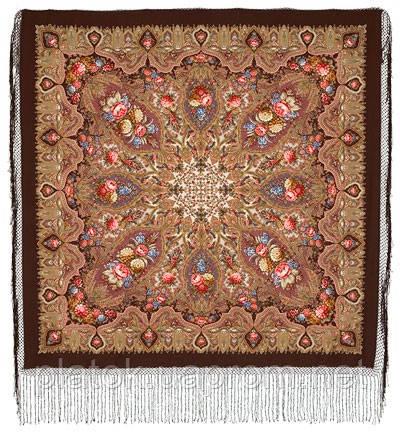 Миндаль 1369-27, павлопосадский платок (шаль) из уплотненной шерсти с шелковой вязанной бахромой