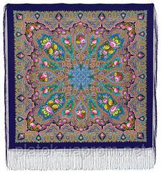 Миндаль 1369-14, павлопосадский платок (шаль) из уплотненной шерсти с шелковой вязанной бахромой